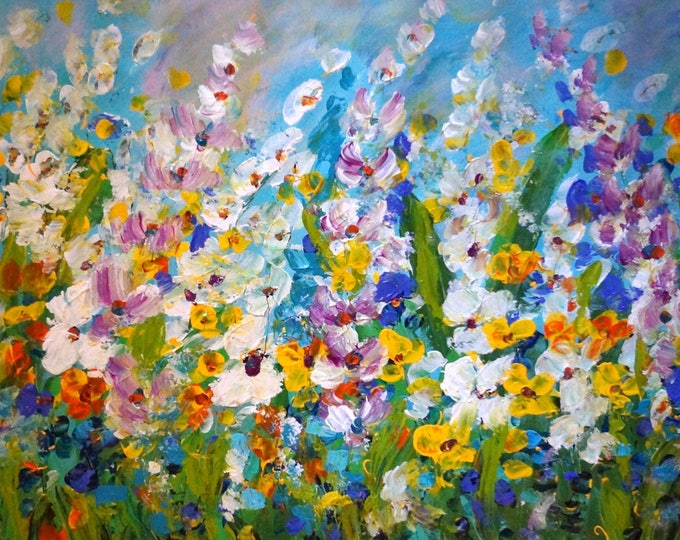 Abstract Flowers Painting Original Large Artwork After Rain by Luiza Vizoli made to order