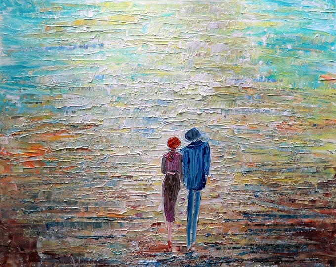 Holding Hands Love YOU So Walking OUR Morning WALKS Oil Impasto Art on Canvas 36X36 ready to hang, ready to ship