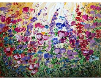 Flowers Garden  40x30 Large Original Painting Canvas Violet Purple Flowers Field