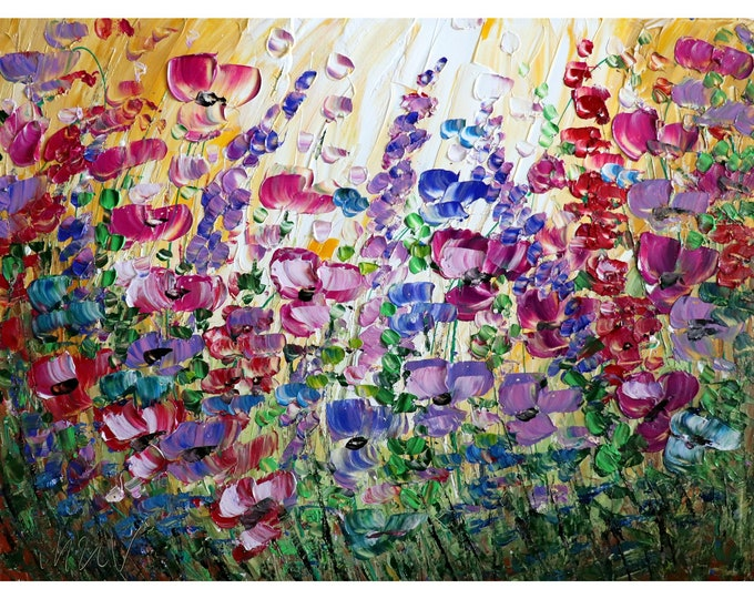 Flowers Garden  40x30 Large Original Painting Canvas Violet Purple Flowers Field