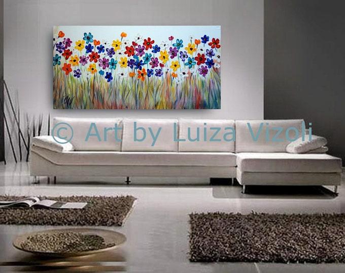 XXL Original Flowers 60 x36 Painting Living Room Art Oil on Large Canvas Colorful Daisy  Art by Luiza Vizoli