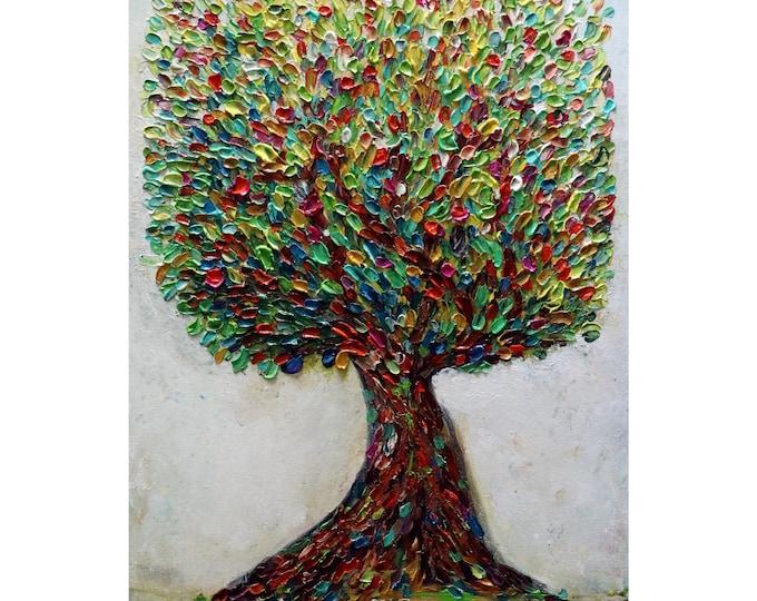 Apple Tree Oil on Canvas Tree of Life Abundance ORIGINAL PAINTING Harvest Season Art by Luiza Vizoli