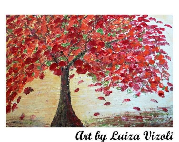 Original Oil Painting Red Blossom Caramel Sunset Impasto Modern Fine Art Large Canvas