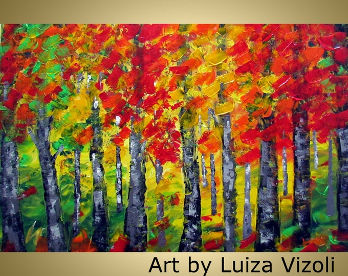 Orange Red Birch Trees Original Large Abstract Painting Multicolored Thick Texture LARGE Canvas Contemporary Fine Art