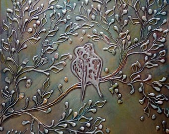 Abstract Birds THE KISS Painting Metallic Textured Silver Gold RUST Thick Canvas