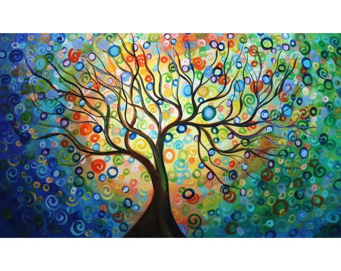 Seasons Tree of Life 60x36 Extra Large Canvas Whimsical Landscape Rainbow Colorful Circles inspirational motivational zen tree of life