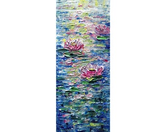 Water LILY Tall vertical wall art ORIGINAL PAINTING canvas abstract, Long Narrow