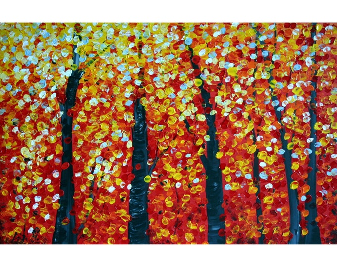 Fall Birch Trees Original Painting Large Modern Canvas Red Yellow Huge Canvas