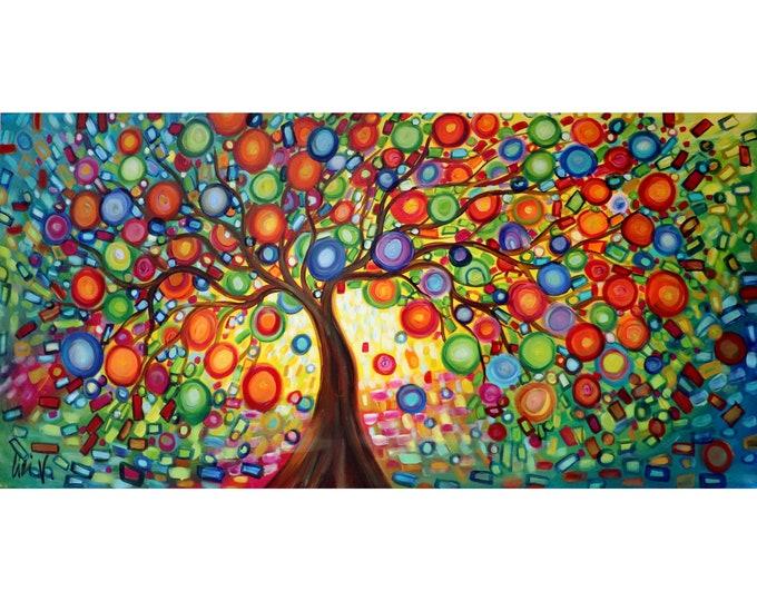 Extra Large Painting 60x36 LEMON TREE of LIFE Original Whimsical Canvas, Huge Canvas ready to hang Art by Luiza Vizoli