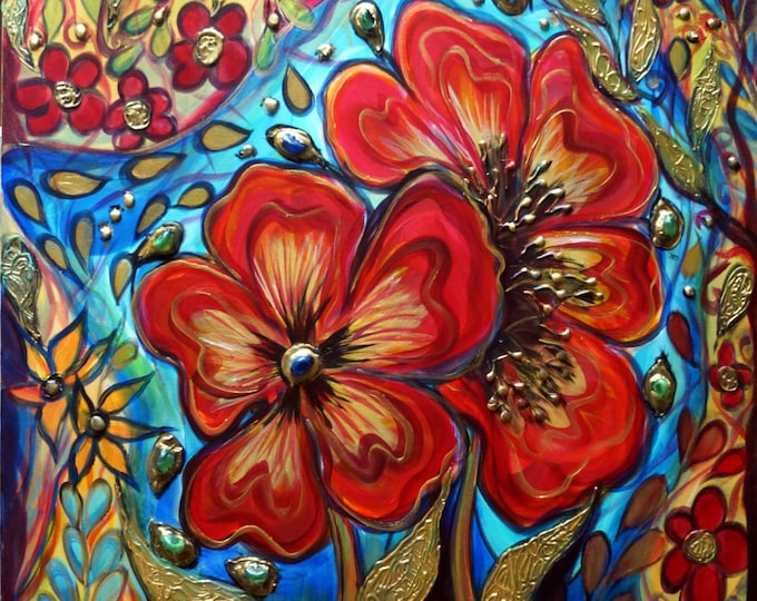 Original Flowers Painting FRIENDS Edwardian Boho Whimsical Gypsy Collage Art Glass,Oil,Acrylic,Textured fine art