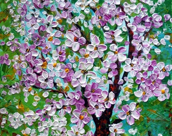 Cherry Tree Flowers in Pink White  riginal Oil Painting Modern Impressionist MADE to ORDER