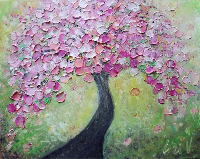 SPRING CHERRY TREE Original Painting Cherry Tree Flowers Impasto Textured Painting ready to ship- ready to hang painting