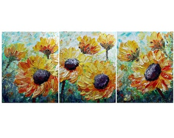SUNFLOWERS XL Tuscany Summer Original Painting Impasto Oil Large Art on Canvas Triptych