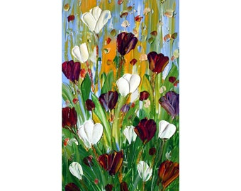 TULIPS Original impasto oil painting on gallery canvas ready to hang