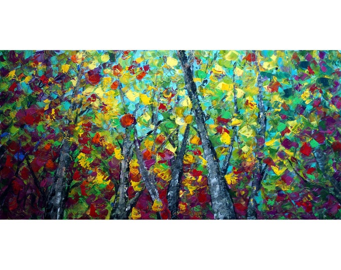 DEEP in the FOREST Bold Colorful ART Modern Impressionist Trees Landscape Palette Knife Impasto Oil Painting by Luiza Vizoli
