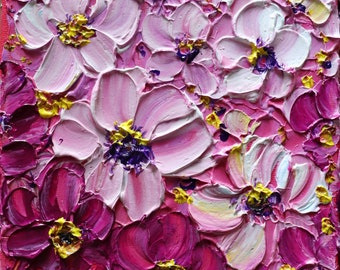 Pink Fuchsia White Petunias Original Painting Flowers Impasto on Canvas Small 6x6 Colorful Painting Art by Luiza Vizoli