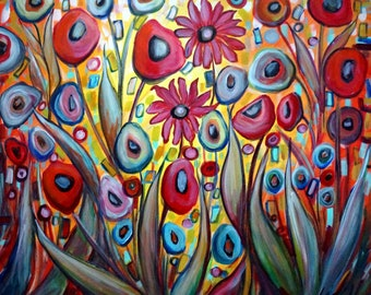 Bohemian GARDEN GYPSY 48x48 Colors Large Painting Flowers Fantasy Whimsical Colorful Art by Luiza Vizoli canvas ready to hang