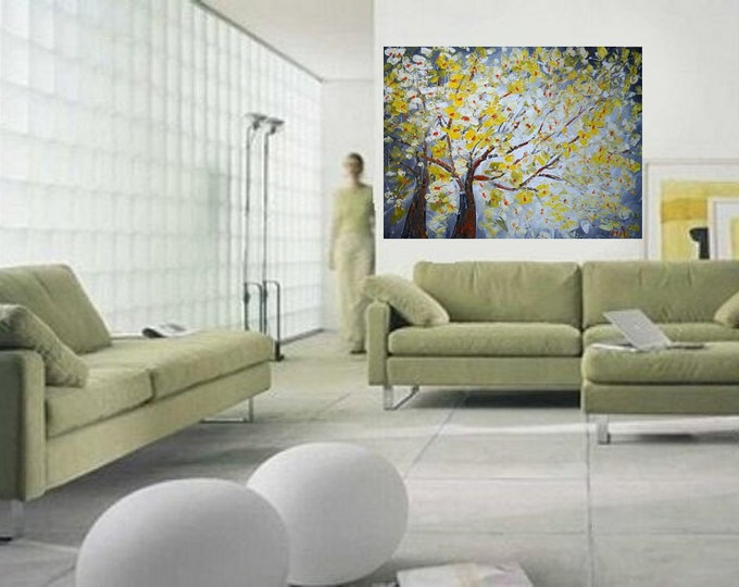 48x36 Spring Blossom Large Painting Yellow White Gray Landscape Canvas