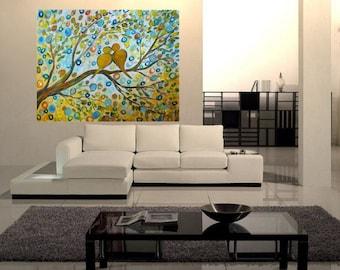 BIRDS Fall Rain Whimsical Romance Painting HUGE CANVAS Art by Luiza Vizoli