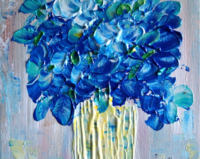 Blue Flowers Bouquet Painting on Canvas Original Art by Luiza Vizoli Small Canvas Made to Order