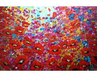 Red Flowers 72x48 HUGE Original Modern Impressionist WILD FLOWERS Palette Impasto Very Large Painting