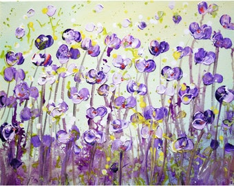 Lavender Purple Flowers Original Impasto Painting Cream Yellow Green Colors