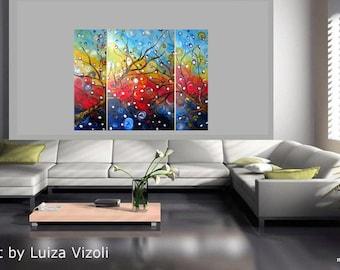 Original Large Whimsical Olive Tree Painting Huge Boho