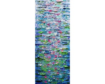 Vertical Canvas Abstract Lily Pond Water Reflections Impasto Oil Painting Art by Luiza Vizoli ready to ship