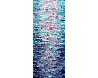Tall Vertical BLUE PURPLE Water Reflections ORIGINAL painting canvas Long Narrow wall decor for staircase, bathroom, kitchen, entryway