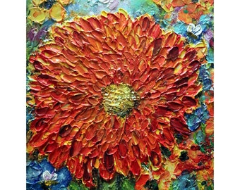 Dahlia Orange Red Burgundy Yellow Flowers Garden Oil Impasto Original Painting