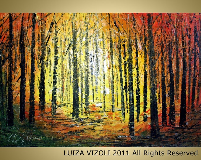 SUNSET in the FOREST Original Modern Abstract Trees Landscape Palette Knife Impasto Oil Large Painting by Luiza Vizoli