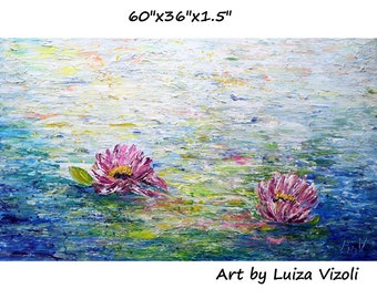 PINK LOTUS Extra LARGE Painting Abstract Water Lilies The Most Beautiful Flowers Original Textured Art Ready to Ship