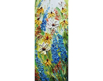 Wildflowers Meadow Tall Vertical Narrow Painting Impasto Oil Textured Box Canvas Wide Edge TEXAS BEAUTIFUL FLOWERS