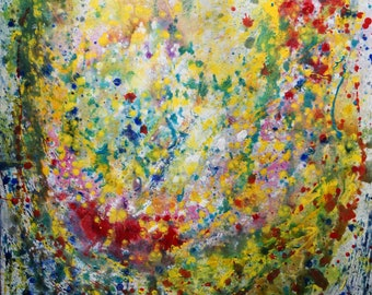 SUMMER RAINDROPS Pollock Inspired ABSTRACT Painting Colorful Large Canvas Original Art by Luiza Vizoli