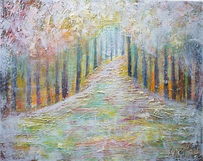 WINTER FOREST Original Painting Textured Palette Knife Impasto Art by Luiza Vizoli