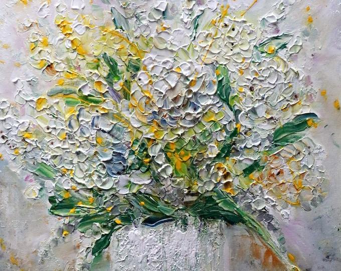 Hydrangea Spring Flowers Bouquet Impasto Oil Painting, Hydrangea Painting on Canvas