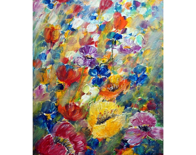 Spring Flowers Mist Original Painting Oil on Canvas Large Abstract Floral Artwork by Luiza Vizoli