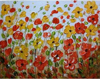 Impasto Orange Yellow Daisy Painting Flowers  Cream Ivory Green Art by Luiza Vizoli