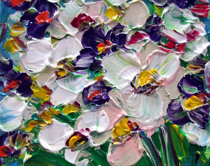 SPRING Purple Pink White BOUQUET Original Flowers Impasto Oil Painting on Gallery Canvas CUSTOM
