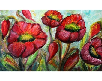 RED BLOOM POPPIES Original Art Large Canvas Impasto Textured Painting Beautiful Texture and Vivid Colors