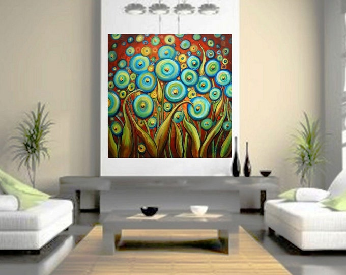 Bohemian FLOWERS Aqua Blue Poppies Copper Sunset BoHo Whimsy Large Canvas 36x36 ready to ship, ready to hang Art by Luiza Vizoli
