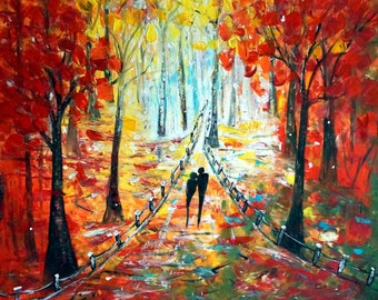 Fall in VIENNA ROMANCE Large Painting Original Art Fall in VIENNA Modern Impressionist Direct from Artist Luiza Vizoli  Ready to Ship