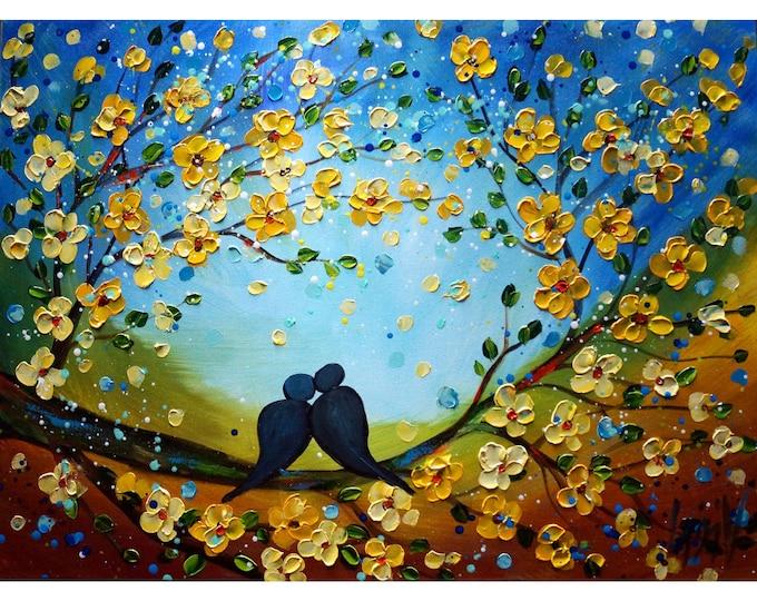In Love Birds Landscape Original Painting Large Canvas Art by Luiza Vizoli