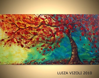 FALL BREEZE Original Modern Abstract Tree Landscape Oil Painting Large Canvas