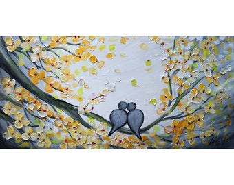 Spring LOVE is in the Air Large Painting Original Oil Canvas in Shades of Yellow Gray White Art by Luiza Vizoli