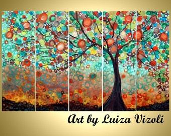 Original Large Whimsical OLIVE Tree Painting Huge Boho Fantasy Landscape Made to ORDER