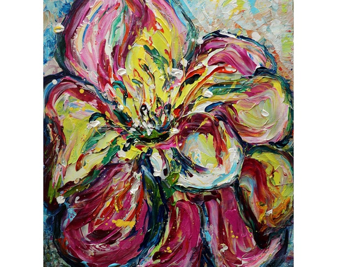 Summer Zinnia Flower Abstract Floral Original Impasto Painting on Canvas