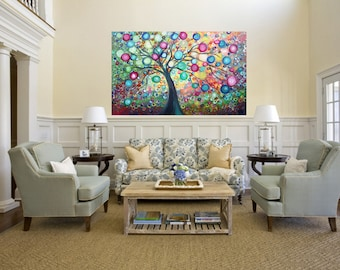 48x30 Large Painting PURE JOY Tree of Life Landscape Huge Canvas Ready to Hang