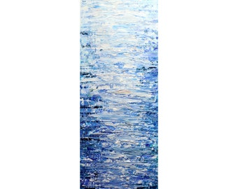 Tall vertical wall art ORIGINAL PAINTING canvas BLUE abstract, Long Narrow wall decor for staircase, bathroom, kitchen, entryway