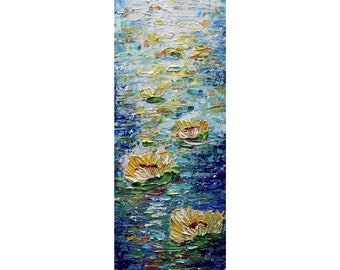 Water FLOWERS vertical wall art ORIGINAL PAINTING Abstract Narrow Canvas wall decor for staircase, bathroom, kitchen, entryway